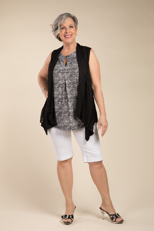 Sleeveless Lace Cardi, Black, original image number 2