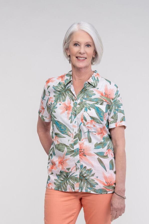 Hawaiian Print Camp Shirt, Green, original image number 3