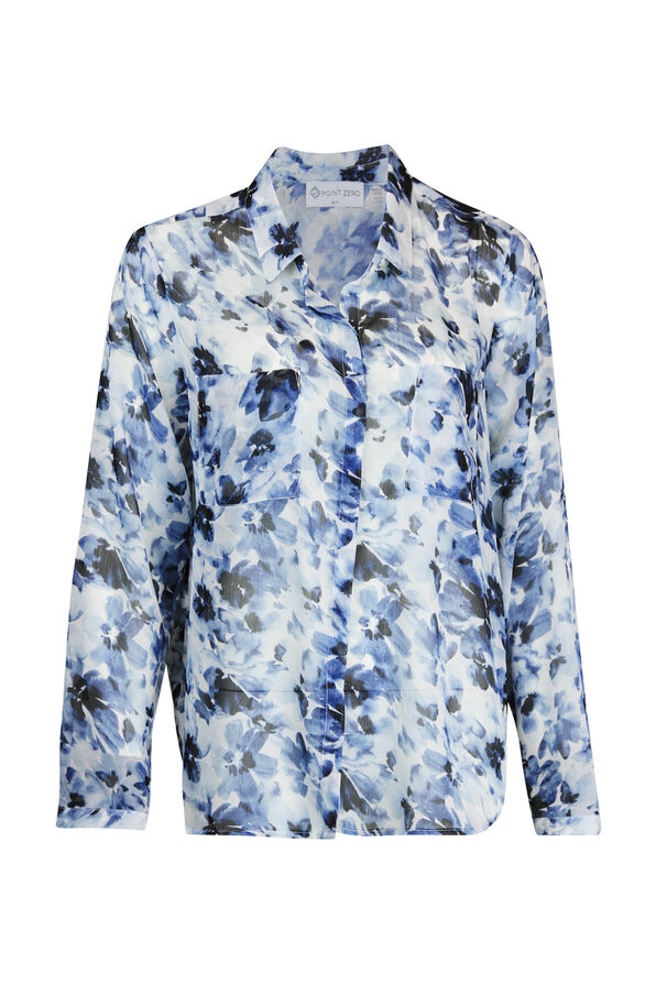 Floral Chiffon Blouse with Hidden Button Front, Navy, original image number 0
