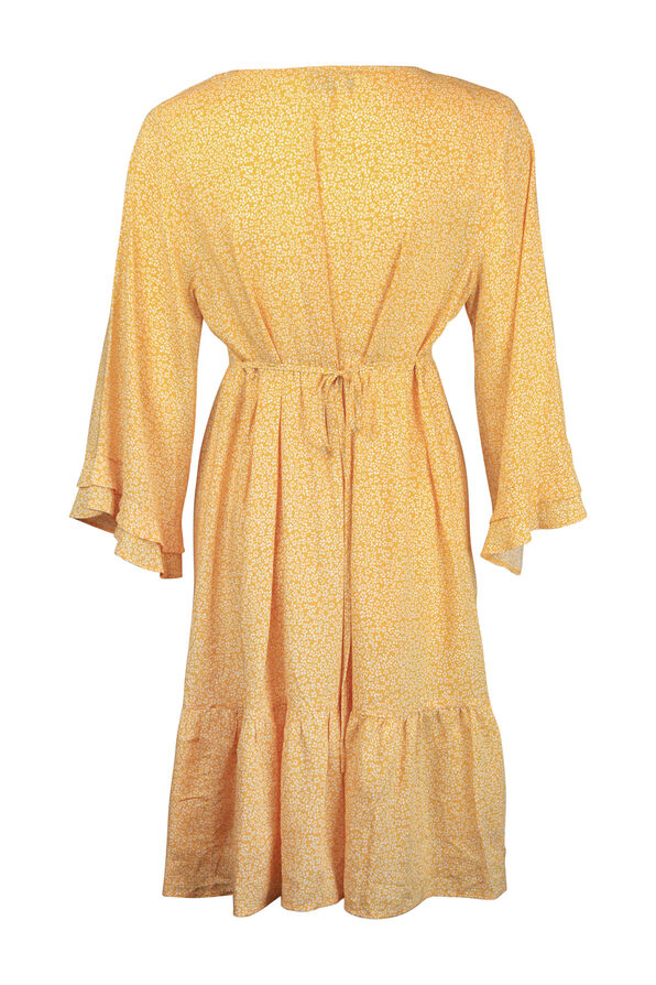 Boho 3/4 Ruffle Sleeve Dress, Yellow, original image number 1