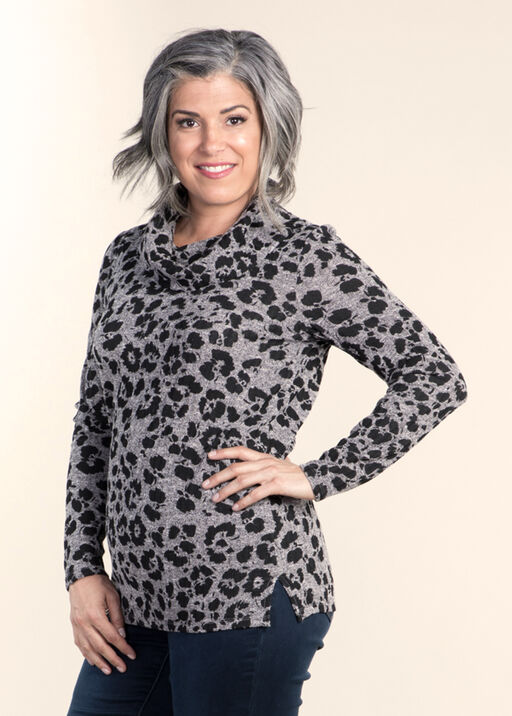 Cowl Neck Long Sleeve top, Charcoal, original