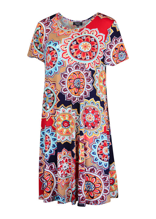 Medallion Print Short Sleeve Aline Dress, Multi, original