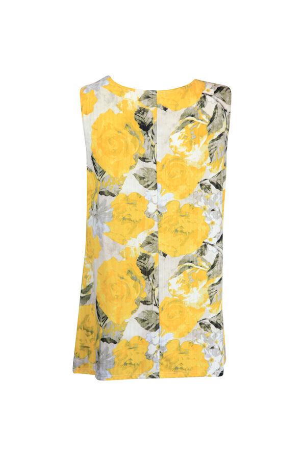 Cowl Neck Stud Shoulder Sleeveless Top, Yellow, original image number 1