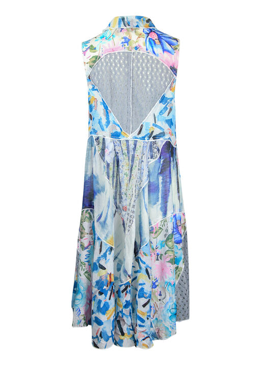 Patch Print Drape Front Sleeveless Cardigan , Multi, original