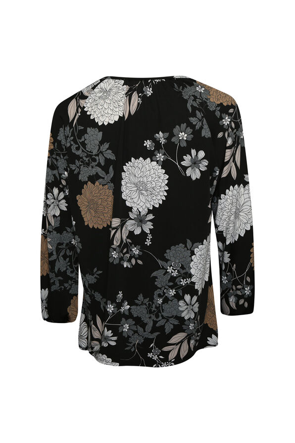 Floral Print Peasant Top, Black, original image number 1