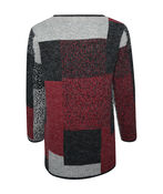 Patchwork Open Front Tab Closure Sweater Cardigan, Red, original image number 1