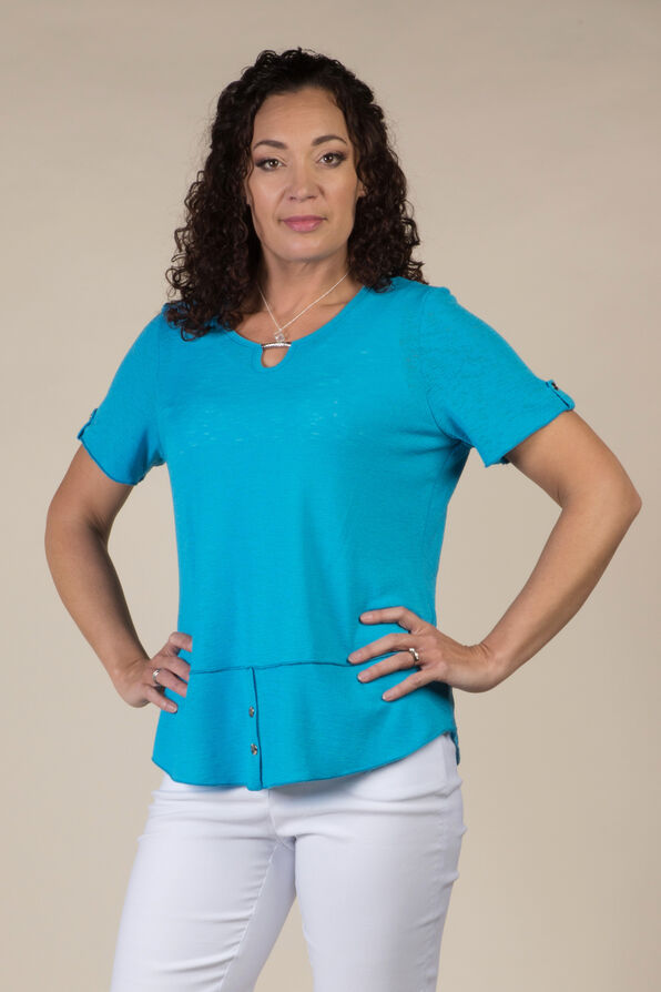 Simply Studded T Shirt, Turquoise, original image number 0