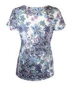 Sweetheart Neckline Short Sleeve Printed Top, Purple, original image number 1