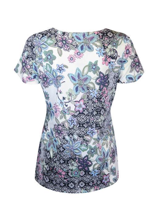 Sweetheart Neckline Short Sleeve Printed Top, Purple, original