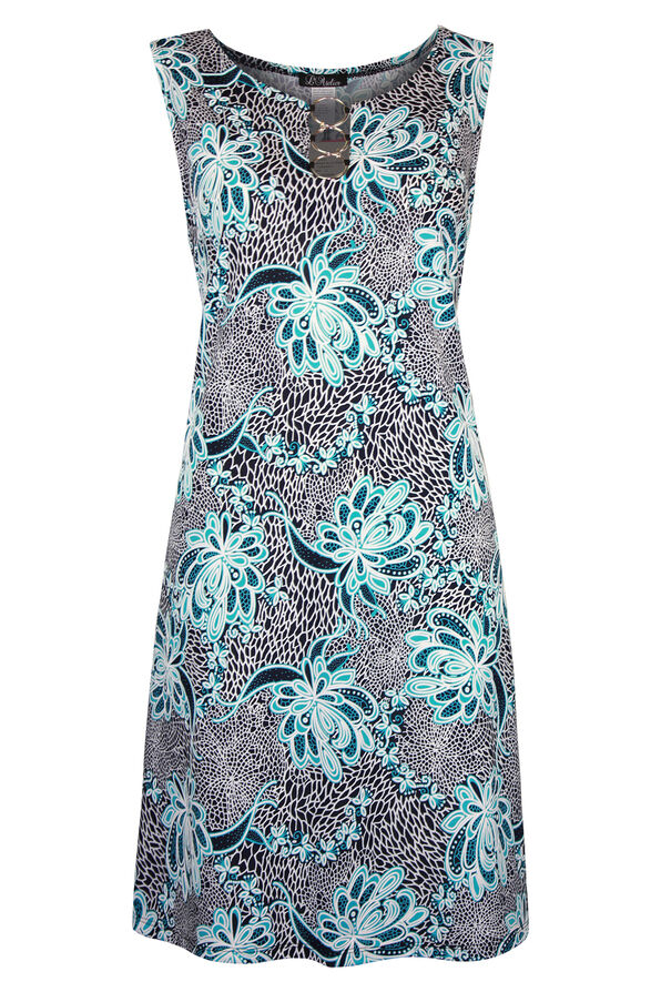 Sleeveless Shift Dress with 3 Ring Keyhole, Turquoise, original image number 0