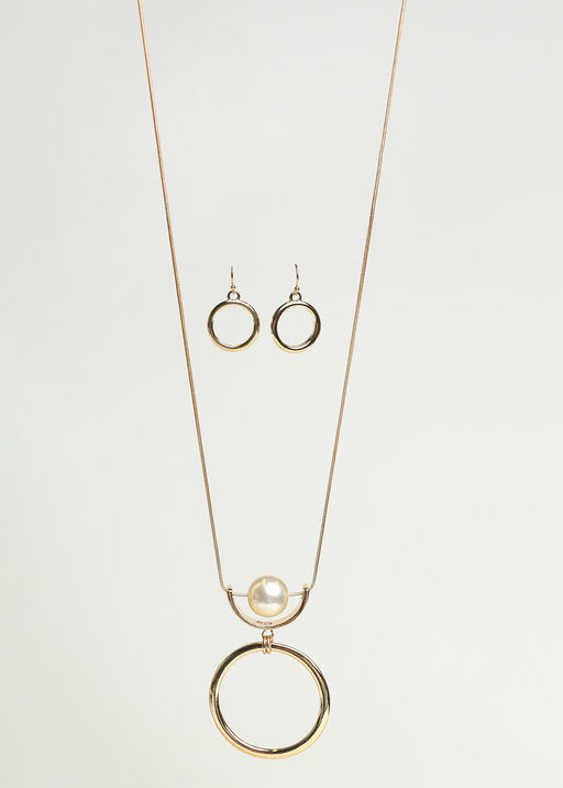 Classic Circle Pendant Necklace Set, Gold, original
