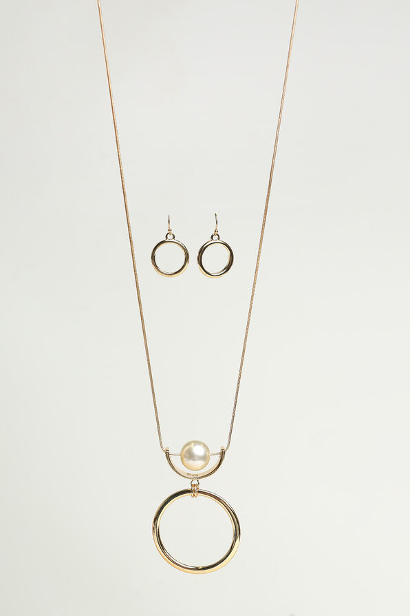 Classic Circle Pendant Necklace Set, Gold, original image number 0