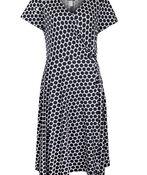 Short Sleeve Wrap Dress, Black, original image number 0
