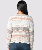 Boho-Chic Bell Sweater, Blue, original image number 2
