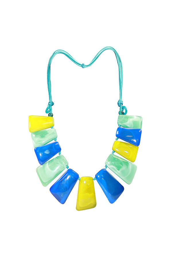 Stone Statement Necklace on Adjustable Cord, Turquoise, original image number 0
