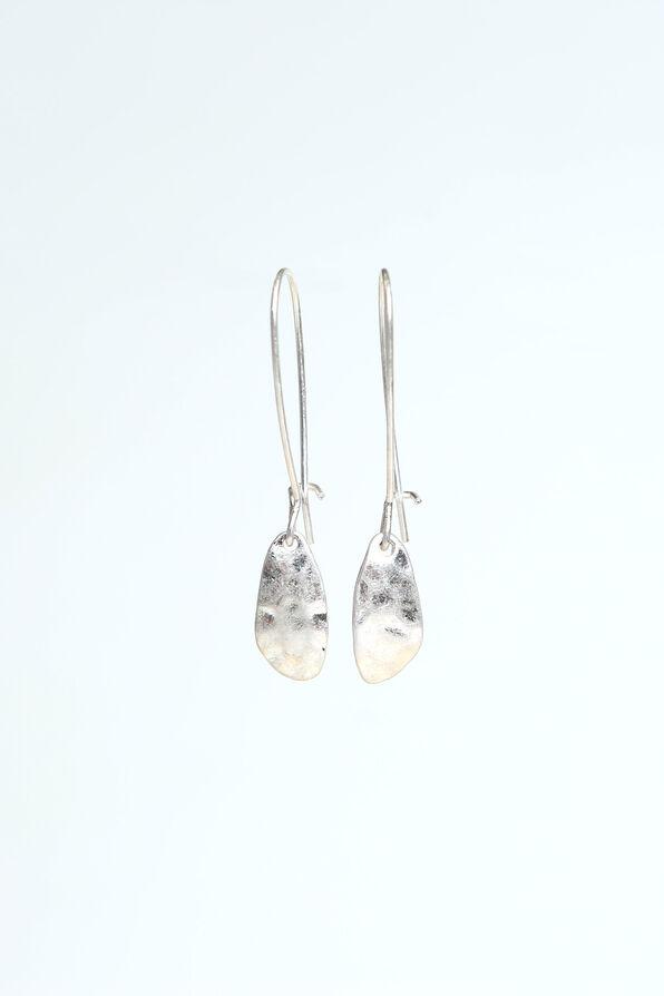 Silver Hammered Earrings, Silver, original image number 0