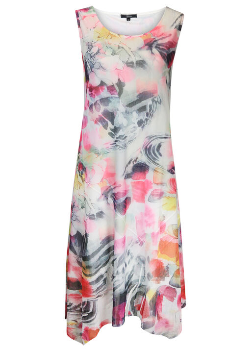 Sleeveless Floral Print Midi Dress, Pink, original