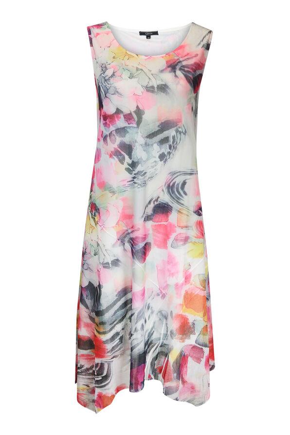 Sleeveless Floral Print Midi Dress, Pink, original image number 0