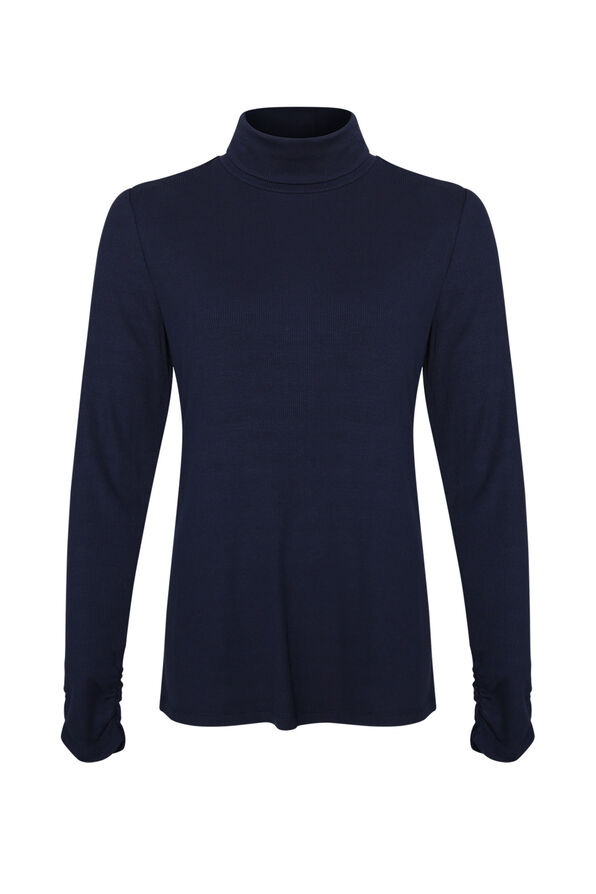 Ruched-sleeve Ribbed Turtleneck, , original image number 2