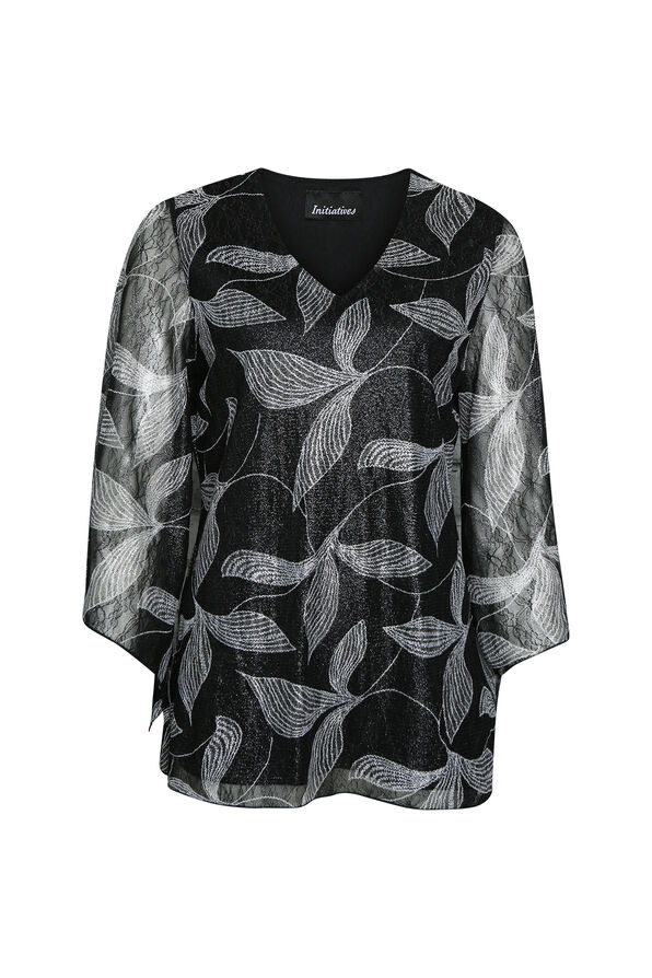 Leaf Bell Sleeve Top , Black, original image number 0