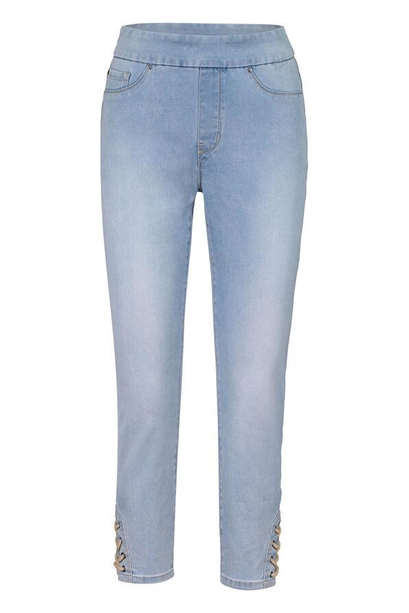 Audrey Denim Ankle Pant with Laced Detail, Blue, original image number 0