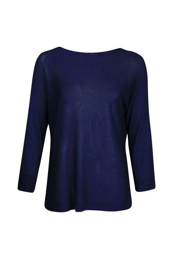 Seamless Neckline Sweater 3/4 Sleeve, , original image number 0