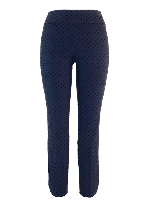 UP Flocked Dot Techno Ankle Pant, Navy, original