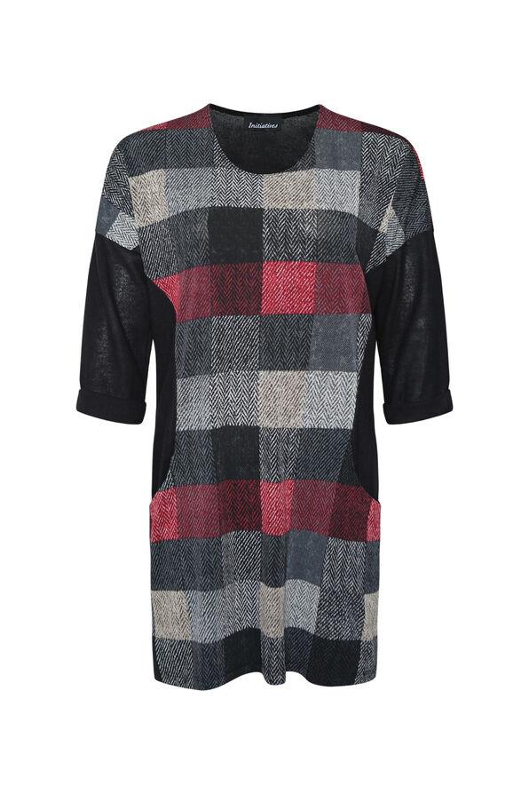 Checker Print Tunic , Red, original image number 0