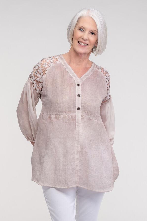 Lace Shoulder Peasant Blouse, , original image number 1