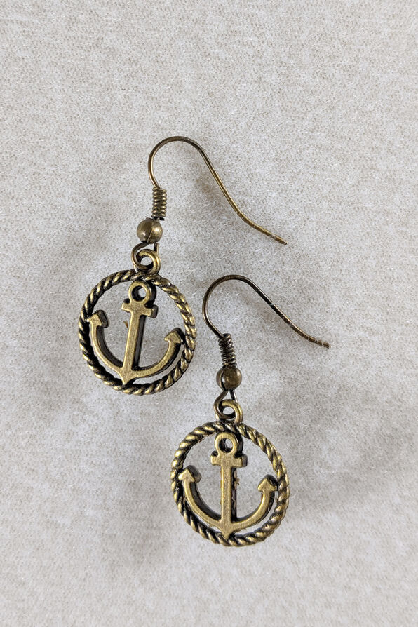 Rope Anchor Earring, Gold, original image number 0