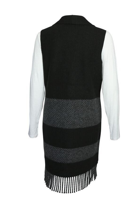 Fringe Tunic Vest, Black, original image number 1