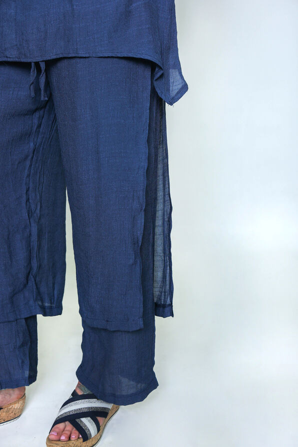 Layered Wide Leg Pant with Button Accent, , original image number 2
