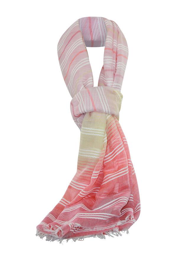 Embroidered Stripe Ombre Rectangle Scarf w/Fringe, Coral, original image number 0