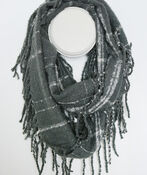 Plaid Boucle Infinity Scarf with Fringe, , original image number 2