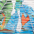 Cap Sleeve Printed Sheer Stripe Shift Dress, Aqua, swatch