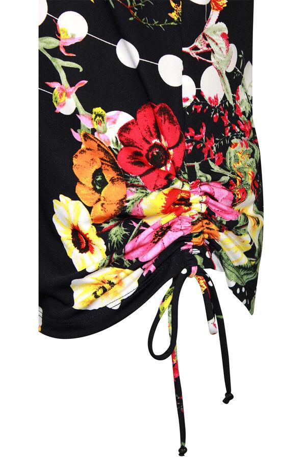Floral Print Short Sleeve Top with Side Tie, Navy, original image number 2