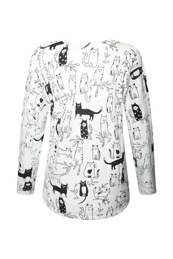 Rhinestone Cat Sweater, White, original image number 1