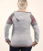 Fairisle Pullover Sweater with Hood, Grey, original image number 1