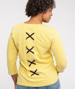 Striped 3/4 Sleeve Top With Criss Cross Back, Yellow, original image number 1