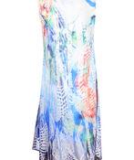 Sleeveless Dress with Burnout Overlay, Multi, original image number 1