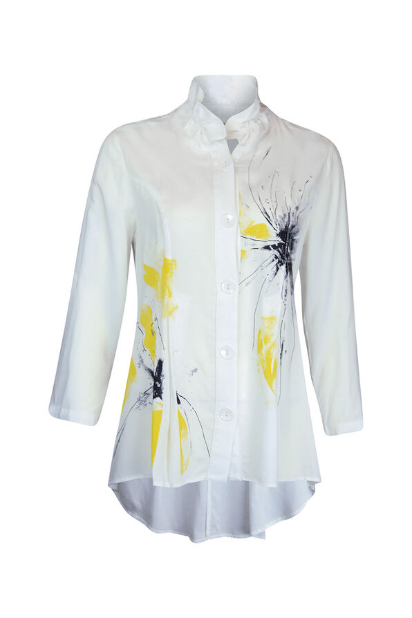 Button Front 3/4 Sleeve Top with Ruffle Neck and HiLo Hem, White, original image number 0