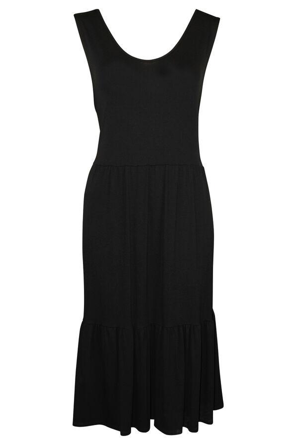Sleeveless Tiered Midi Dress, Black, original image number 0