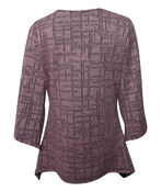 3/4 Wide Sleeve Fit and Flare Top  , Pink, original image number 1