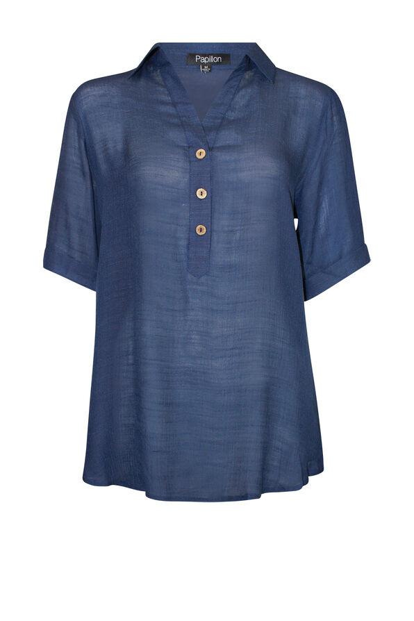 Short Sleeve Popover Top with Hi-Lo Hem, , original image number 1