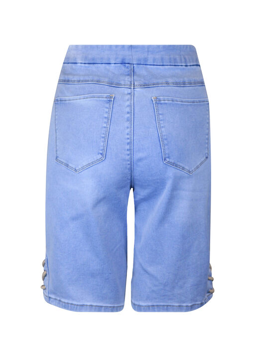 Pull-On Audrey Denim Shorts with Laced Detail, Blue, original