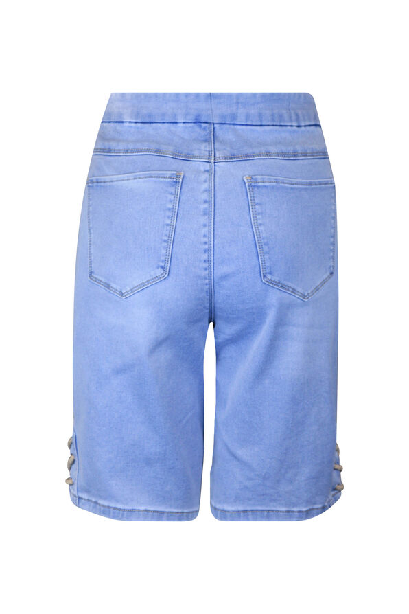 Pull-On Audrey Denim Shorts with Laced Detail, Blue, original image number 1