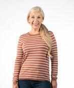 Striped Crewneck Sweater, Rust, original image number 1