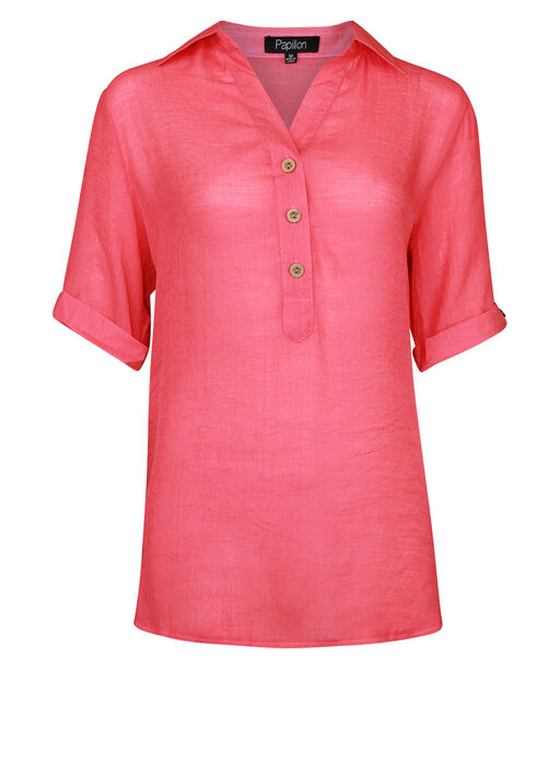 Short Sleeve Popover Top with Hi-Lo Hem, , original