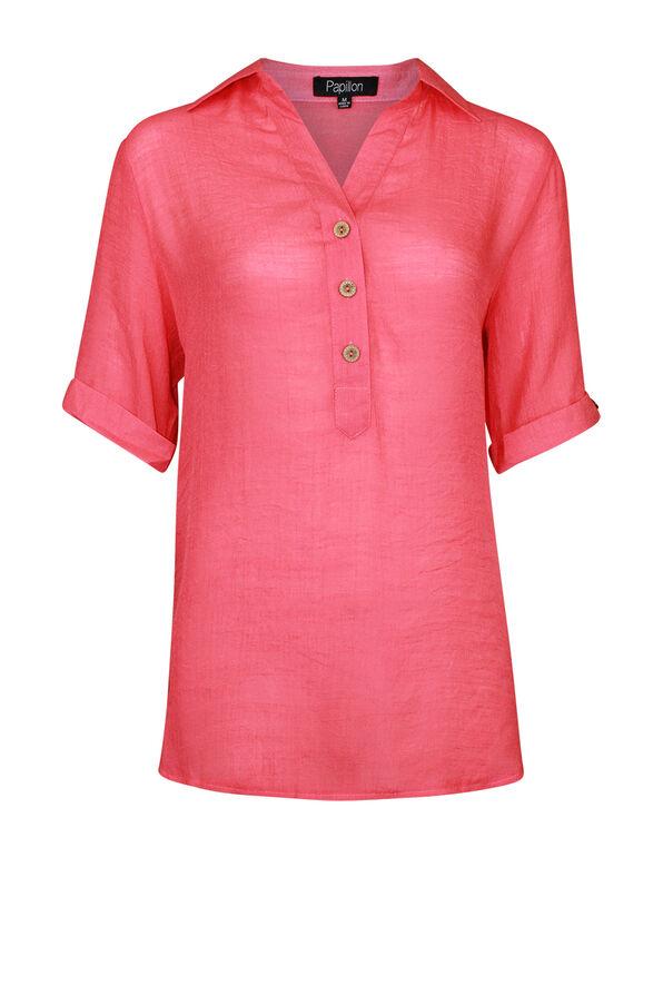 Short Sleeve Popover Top with Hi-Lo Hem, , original image number 0