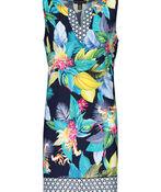 Tribal Tropical Print Split Neck Sleeveless Dress, Indigo, original image number 0